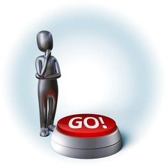 Silver Character thinking about decision pushing go button