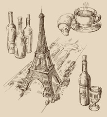 hand drawn Paris