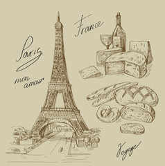 hand drawn Paris