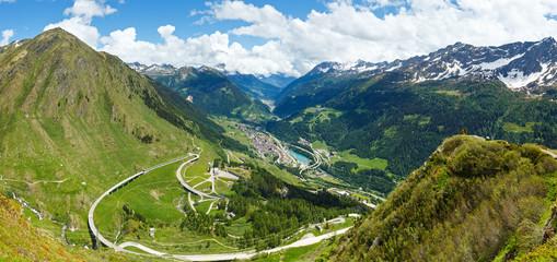 Summer Alps mountain pass panorama