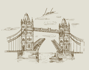 hand drawn Tower Bridge