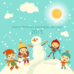 Happy kids playing with snow retro christmas card. Vector