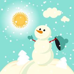 Happy with snow retro christmas Vector