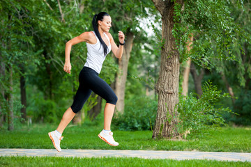 Young woman jogging in nature