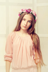 Vintage portrait of beautiful girl in antique style