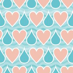 Seamless pattern with hearts and drops. Hearts lost in the rain