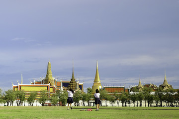 Little girls student have fun, Wat Phra Kaew, Temple of the Emer