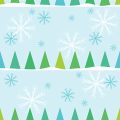 Seamless christmas pattern with snowflakes and firtrees. Winter
