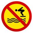 Leinwanddruck Bild - Sign warning for no lifeguard service