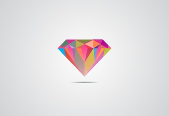 diamond clean color logo vector