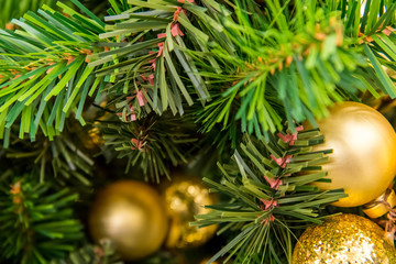 Christmas decorations, gold ornaments