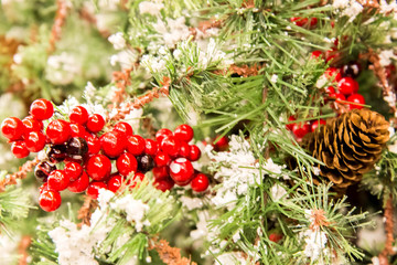 Christmas decorations, berries and pine cones