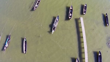 Flying over a small fishing port in the Danube Delta