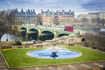 Water Fountain and London Bus