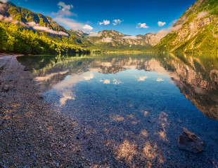 Colorful summer morning on the Bohinj lake in Triglav national p