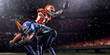 Leinwandbild Motiv American football player in action at game time