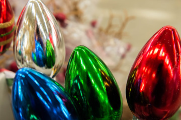 Christmas decorations, multi colored bulbs