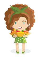 Mujer con canasto de frutas