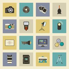Photo equipment flat icons set