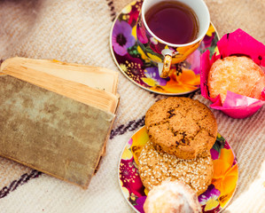 fall cookies with hot tea in cup