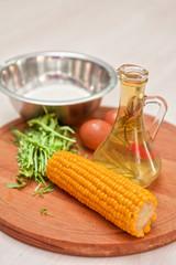 Ingredients for corn pancakes