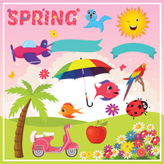 Set of Spring Elements and Illustrations