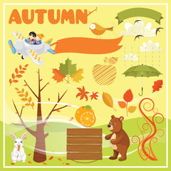 Set of Autumn Elements and Illustrations