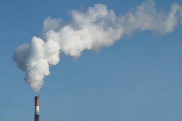 Emission of gases from the chimney at a power plant