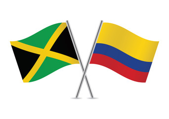 Colombian and Jamaican flags. Vector illustration.