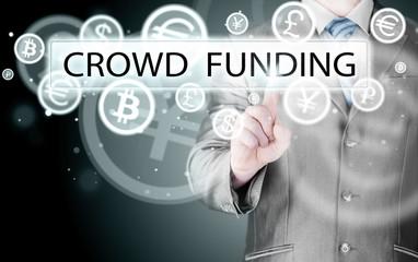 Businessman pushes virtual crowd funding button
