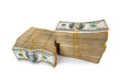 canvas print picture - Stack of dollars in business concept isolated on white