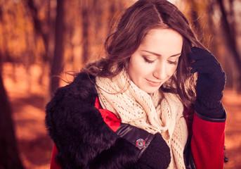 shy fall season forest lady