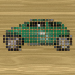 Car pixelated image generated texture