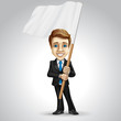 Vector businessman cartoon character holding the waving flag.