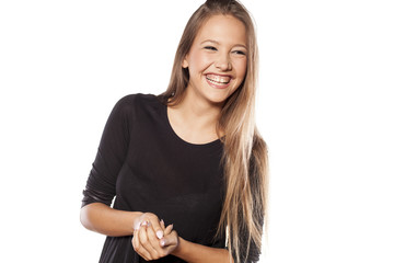 beautiful girl with long hair laugh on white background