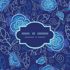 Vector blue night flowers frame seamless pattern background