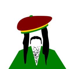 man with dreadlocks and rastafarian hat