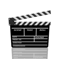 Clapper board on white background
