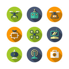 Set flat icons of quadrocopter, multicopter and drone