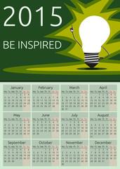 Vector calendar 2015, be inspired