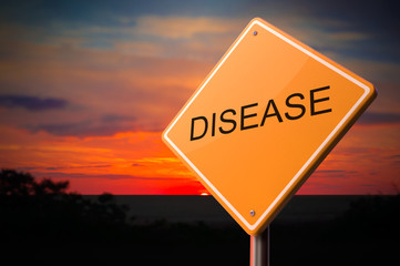 Disease Inscription on Warning Road Sign.
