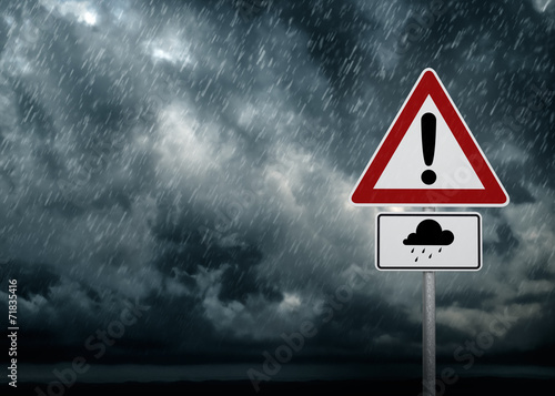 Aluminium Onweer Caution - Heavy Rain