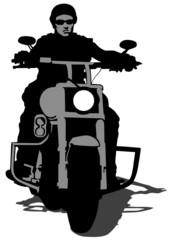 Biker whit helmet