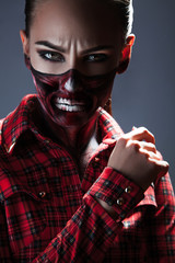 Female with scary make up for halloween night