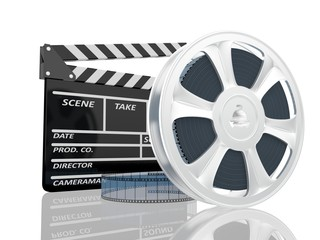illustration of cinema clap and film reel, over white background