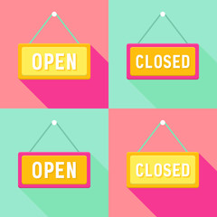 Yellow Pink Cyan Open and Closed Signs Set