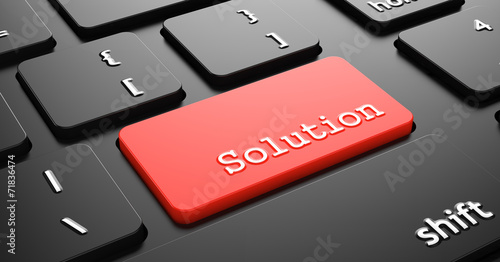 canvas print picture Solution on Red Keyboard Button.