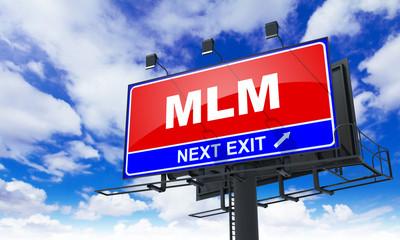 MLM Inscription on Red Billboard.