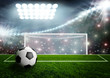 Soccer ball on green stadium arena - 71836879