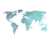 """Постер, картина, фотообои """"Blue Watercolor World Map"""""""